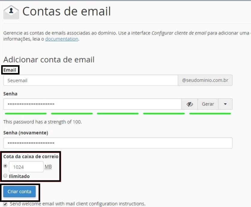 contas de email hostinger