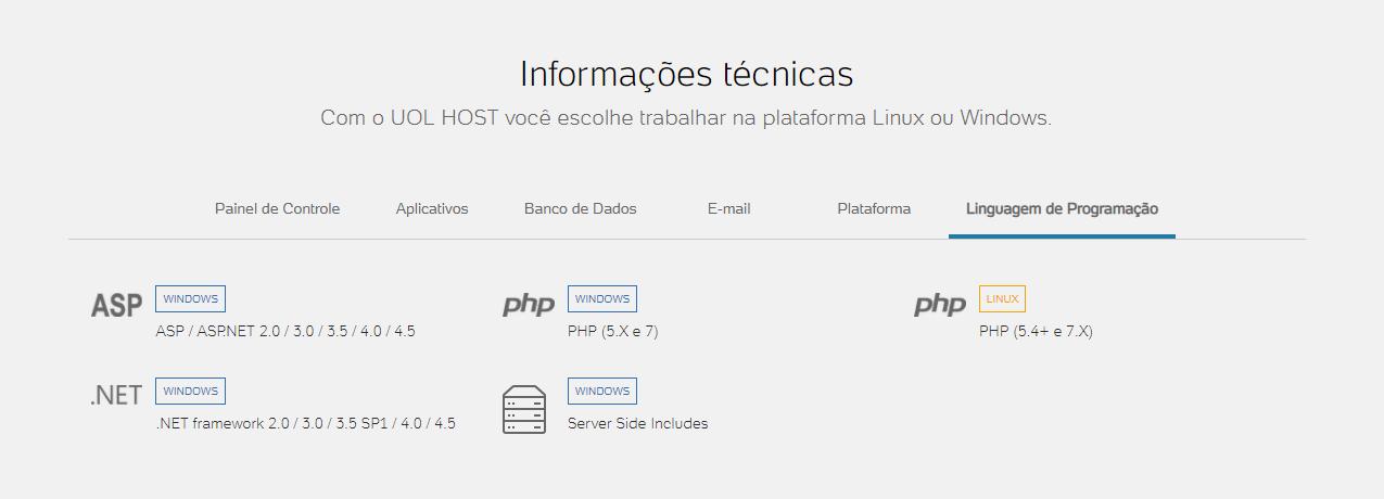 uol host revenda de hospedagem brasil informação técnica
