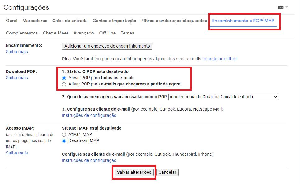 Configurar o recebimento dos e-mails