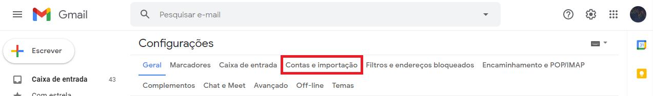 Contas e importação gmail hostgator