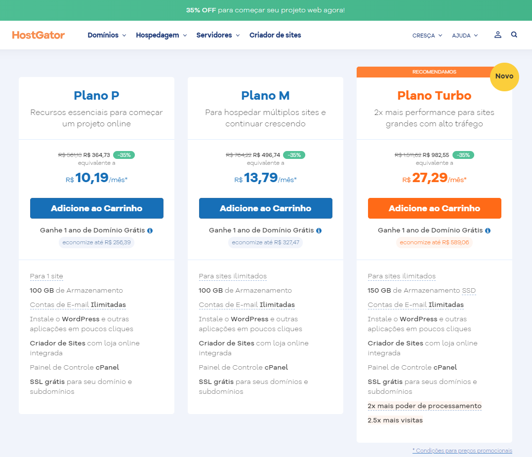 Preços e planos da HostGator