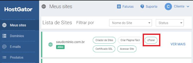 area do cliente hostgator