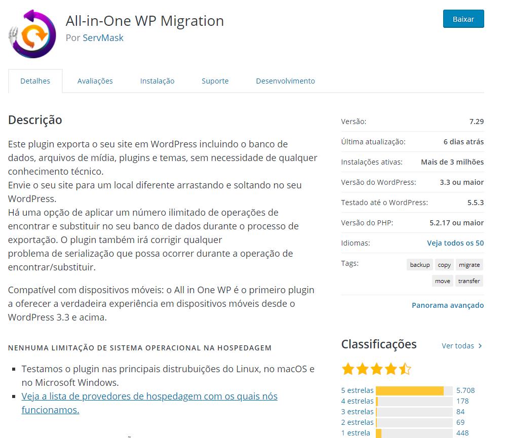 backup WordPress para solucionar o erro 500