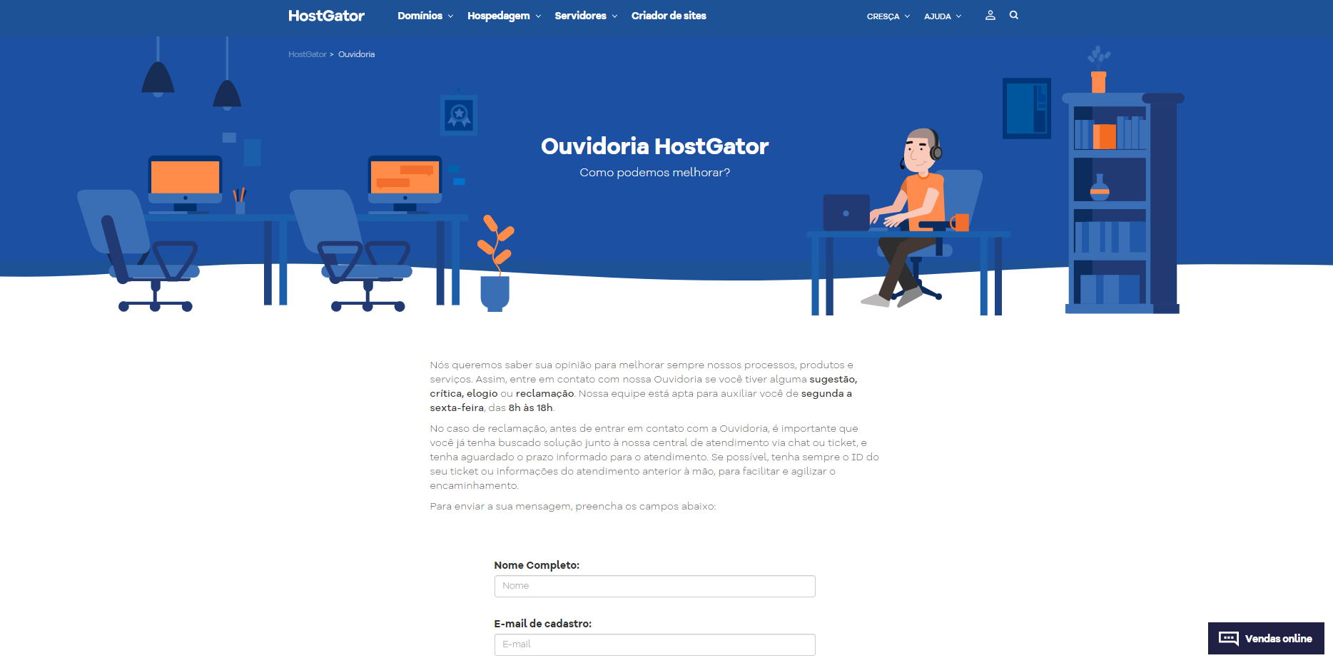 hostgator suporte