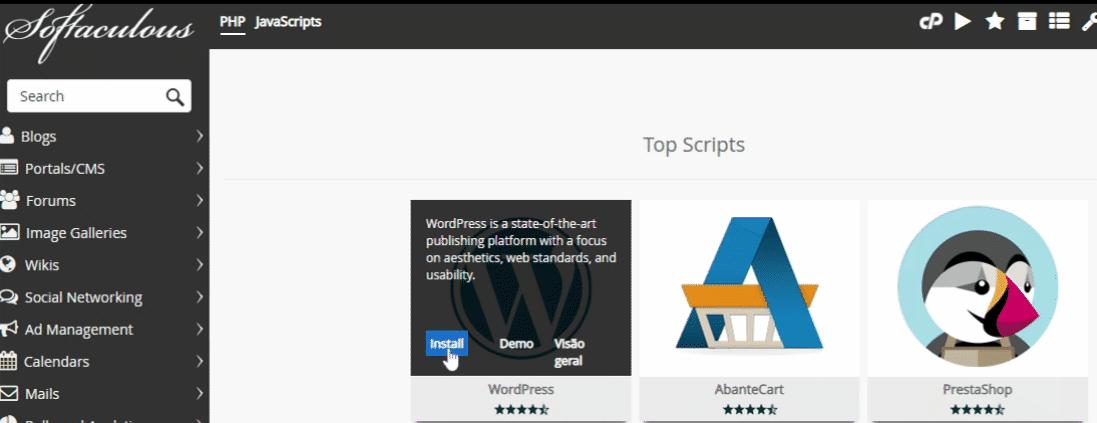 instalar wordpress hostgator