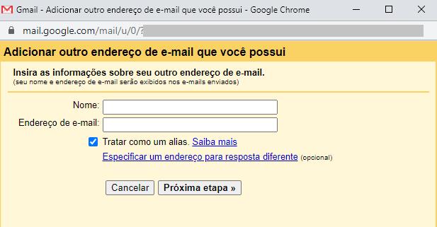 nome e endereço de e-mail hostgator
